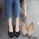 PAPORA絨面優雅C字平底鞋KTB22黑/米(偏小)
