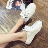 半拖鞋 秋季新款韓版甜美花朵百搭真皮小白鞋舒適厚底包頭半拖鞋女鞋 瑪麗蘇精品