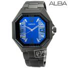 ALBA / 7N42-0FB0K / WIRED 限量街頭潮流切割玻璃層次橫條面板不鏽鋼手錶 藍x鍍黑 41mm