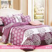 活性印染5尺雙人薄式床包+鋪棉兩用被組-葉葉情/夢棉屋