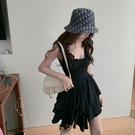 吊帶洋裝 方領黑色連衣裙女夏季收腰百褶短裙新款修身顯瘦氣質裙子 - 歐美韓