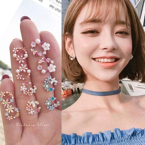 925純銀針  韓國優雅氣質 彩鑽花圈 多款可選 耳環-維多利亞180970