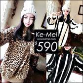 克妹Ke-Mei【ZT49302】哇 美翻天狂野豹紋柔軟水貂毛毛衣洋裝