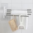 收納架浴室壁掛式免打孔吸盤可旋轉毛巾架毛巾桿【聚寶屋】