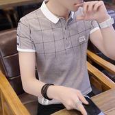 短袖t恤 男潮流夏季男裝修身襯衫領男士polo衫韓版半袖上衣服 薔薇時尚