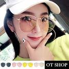 OT SHOP太陽眼鏡‧韓系時尚橢圓形金屬框抗UV400墨鏡‧金框全黑/海洋茶片/黃片/粉片‧現貨‧U77
