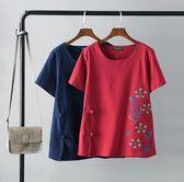 黑五購物節 中老年女裝民族風大碼寬鬆刺繡短袖T恤衫媽媽裝棉麻上衣