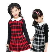 女童長袖洋裝 毛線針織連身裙 英倫格子女孩裙裝 MC33701 好娃娃