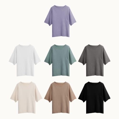 大地色溫柔親膚針織T恤-I-Rainbow【A08583】