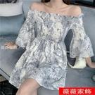 一字領洋裝 碎花連身裙2021女夏新款顯瘦露肩a字氣質短裙雪紡短袖設計感小眾 薇薇
