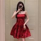 平口洋裝/一字領 復古紅色小禮服 抹胸連身裙女夏季新款裙子法式小眾名媛氣質禮服裙