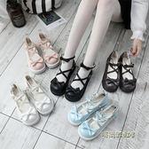18日系厚底洛麗塔女鞋可愛圓頭娃娃鞋學院風小皮鞋平底軟妹少女鞋「時尚彩虹屋」