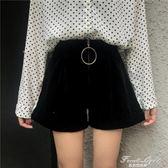 新款時尚韓版高腰拉鏈金絲絨靴褲百搭顯瘦短褲 果果輕時尚
