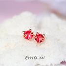 睡覺不用摘的耳釘女氣質紅色簡約貓咪學生養耳洞耳環小衆飾品