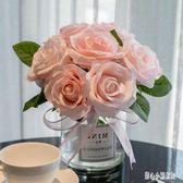 假花裝飾擺件 北歐玻璃花瓶透明小清新創意餐桌擺件小花瓶花束 nm10484【甜心小妮童裝】