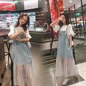 孕婦潮媽牛仔背帶裙 T恤兩件套 寬鬆中長款孕婦連身裙