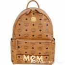 MCM Trilogie 經典塗層帆布皮革後背包(附可拆鍊帶提包/白蘭地色) 1840732-B3