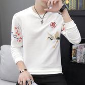 長袖T恤男士2018夏季韓版休閒衣服男裝潮流中國風上衣個性打底衫