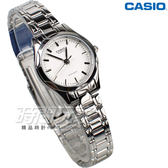 CASIO卡西歐 LTP-1275D-7A 優雅小圓錶 不銹鋼帶 腕錶 白色 女錶 LTP-1275D-7ADF