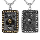 《QBOX 》FASHION 飾品【CHE596】精緻個性復古撲克黑桃骷顱頭鑄造鈦鋼墬子項鍊/掛飾