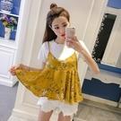 雪紡套裝女時尚兩件套2021新款夏季韓版短袖T恤 小吊帶碎花上衣 百分百