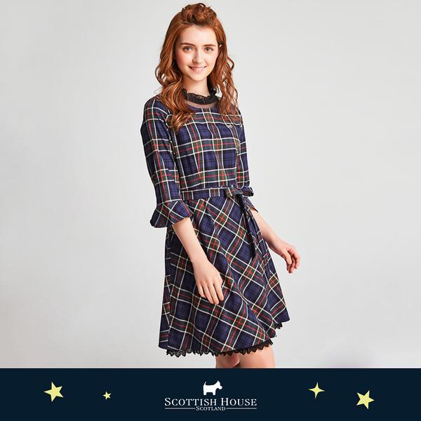 荷葉領腰帶格紋洋裝 Scottish House【AJ3104】