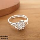 §海洋盒子§優雅雪白玫瑰花S990純銀戒指.可調整戒圍