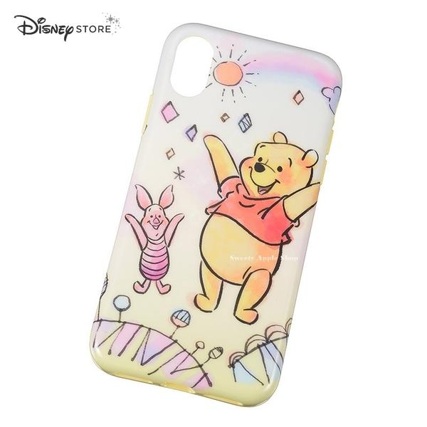 日本限定 DISNEY STORE 迪士尼 小熊維尼&小豬 彩虹 iPhone X 手機保護殼套