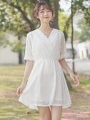 洋裝 2019夏季新款V領收腰中裙蕾絲鉤花短袖連衣裙 仙女沙灘裙子