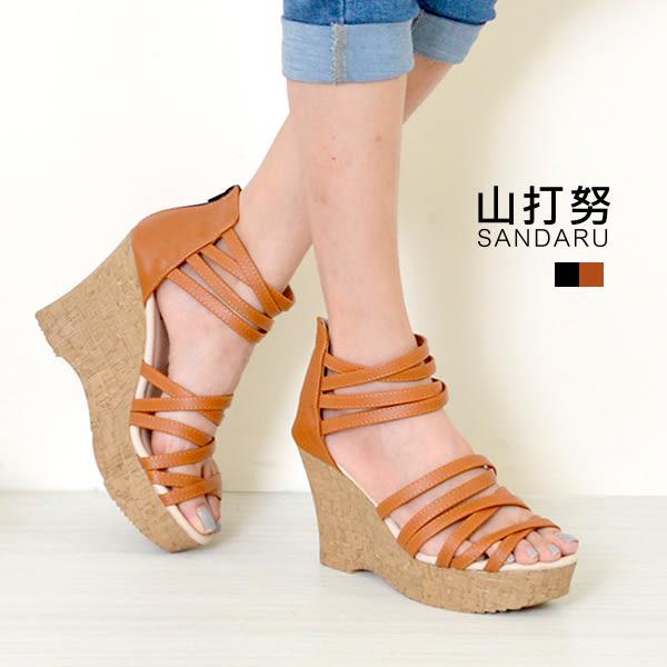 楔型涼鞋 多線條羅馬楔型涼鞋@- 山打努SANDARU【107i669#46】