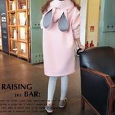 *桐心媽咪.孕婦裝*【CT0337】舒適柔感.造型連帽連衣裙-粉色