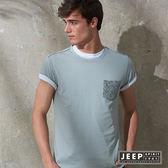 【JEEP】創意印花口袋短袖TEE 灰色 (合身版)