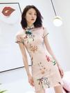 改良版旗袍秋裝2019年新款式中國風蝕骨年輕款少女短款連衣裙現代 伊衫風尚