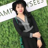 洋裝修身顯瘦氣質性感拉鏈條紋連身裙【大小姐韓風館】