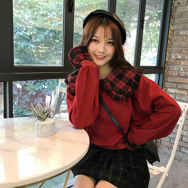 清倉288 韓國風復古格紋娃娃領寬鬆長袖上衣