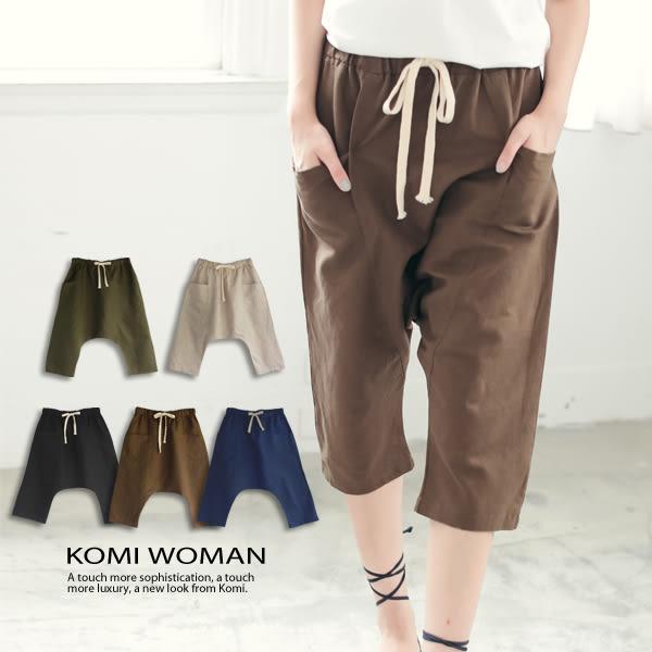 【KOMI】大口袋棉麻抽繩七分褲 (1615-616607)