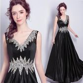 M-天使嫁衣 黑色鑽石鑲嵌 女王風範晚宴年會演出婚紗禮服5968