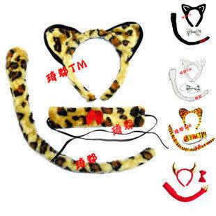 COS卡通頭飾豹紋動物3件套