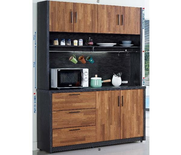 櫥櫃 餐櫃 SB-859-1 尚恩5尺雙色碗盤櫃(上+下)【大眾家居舘】