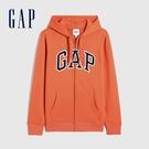 Gap男裝 碳素軟磨系列 Logo法式圈織開襟連帽外套 853131-橙色