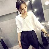 白色雪紡襯衫女短袖寬鬆百搭V領上衣職業裝【時尚大衣櫥】