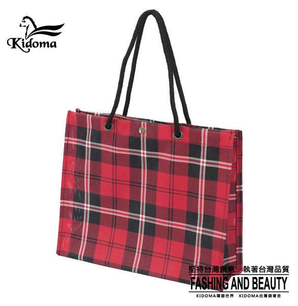 手提袋-編織袋(L)-蘇格蘭紅-01C