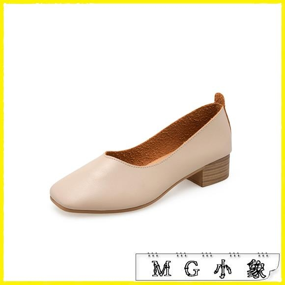MG 粗跟鞋-單鞋韓版粗跟方頭復古淺口中跟鞋
