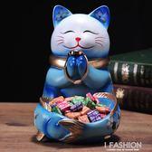 招財貓擺件創意家居酒柜玄關裝飾品鞋柜鑰匙收納盤開業禮品-ifashion