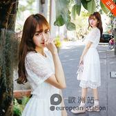 洋裝/夏季新款蕾絲連身裙女學生短袖收腰顯瘦小清新中長款裙子「歐洲站」
