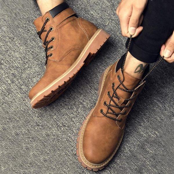 森雅誠品 馬丁靴男靴子正韓潮高筒英倫皮靴沙漠短靴復古男士軍靴工裝靴