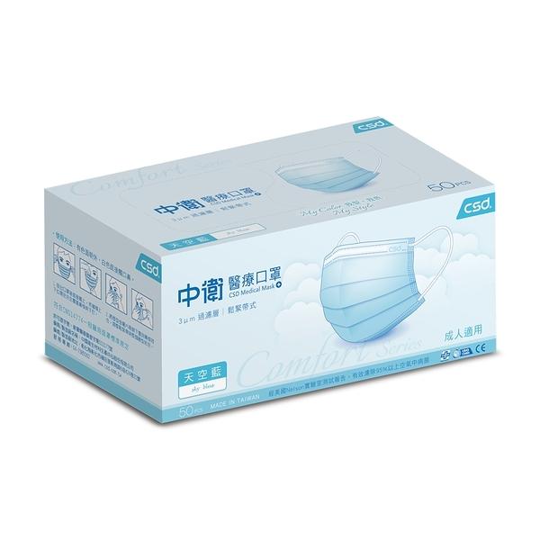(每人限購一盒) 中衛醫療口罩天空藍 50片/盒 雙鋼印 *維康
