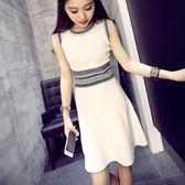 洋裝-無袖針織時尚優雅氣質中長款女連身裙73hn65[時尚巴黎]