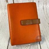 BRAND楓月 LOEWE 羅意威 橘色 內裡粉紅色 雙色 皮革 中夾 錢夾 錢包