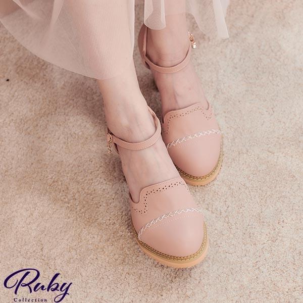 鞋子 交叉車線鏤空點點繫踝粗跟鞋-Ruby s 露比午茶